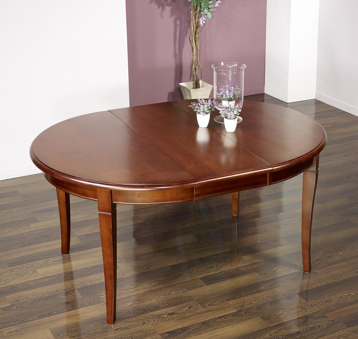 c5a0aedffa207 Table ronde 4 pieds sabres réalisée en Merisier Massif de style Louis  Philippe 3 allonges de ...