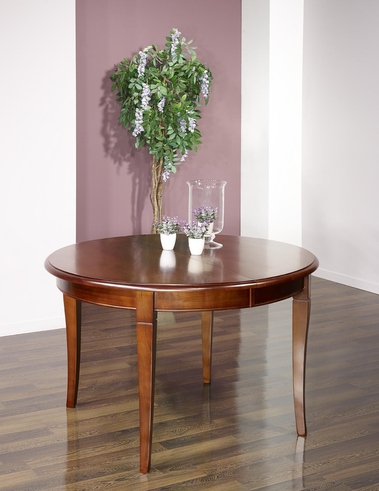 d0300288df444 ... Table ronde 4 pieds sabres réalisée en Merisier Massif de style Louis  Philippe 3 allonges de ...