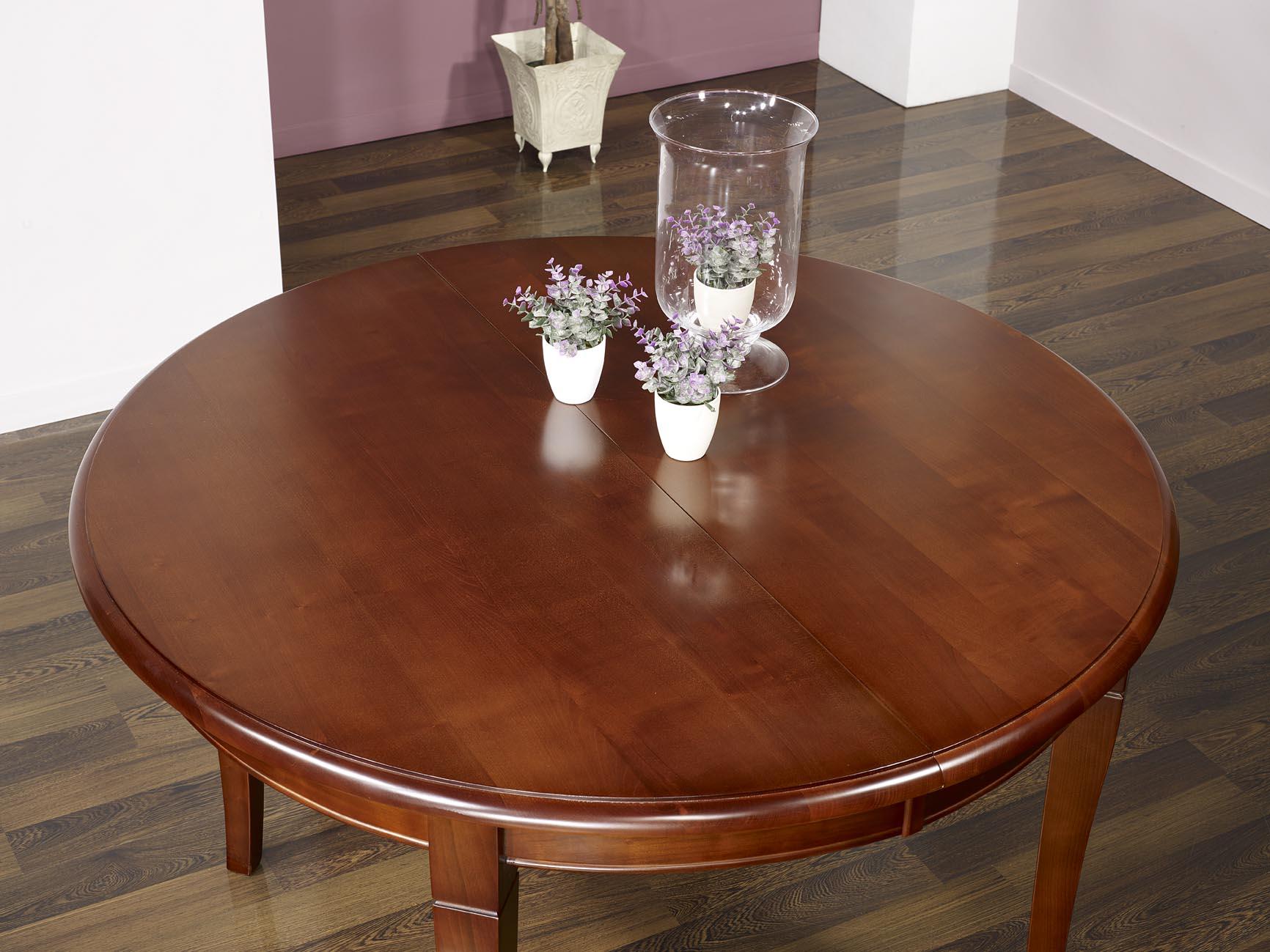 Table ronde camille 4 pieds sabres en merisier massif de - Diametre table ronde 4 personnes ...