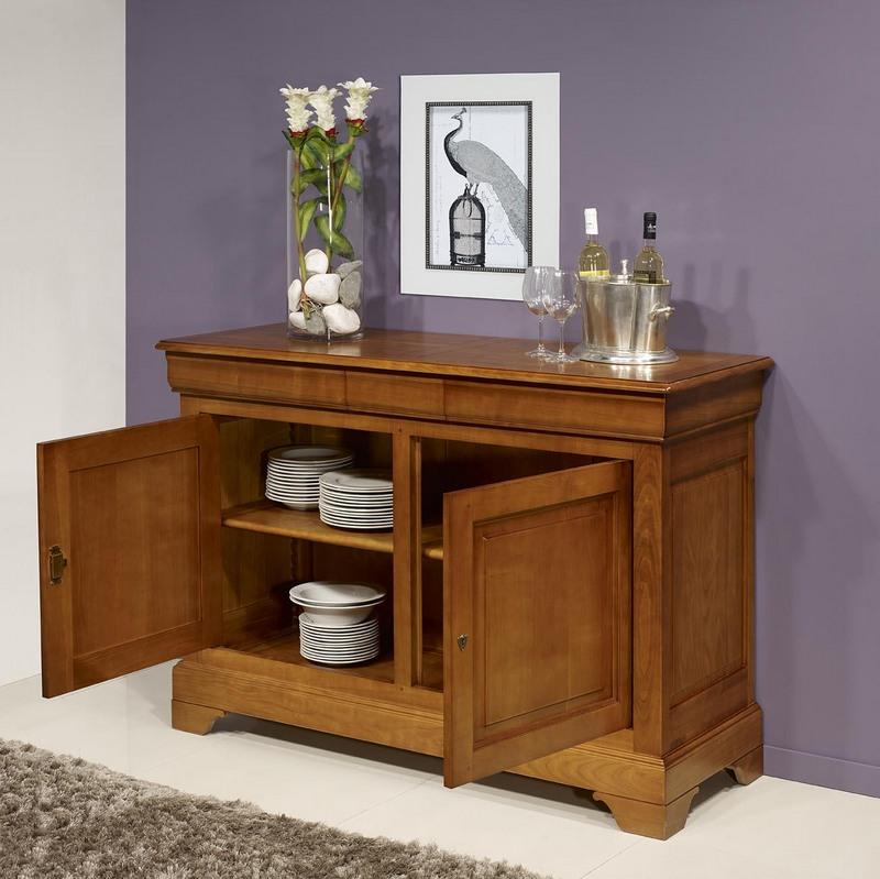 buffet 2 portes 3 tiroirs no mie en merisier massif de style louis philippe meuble en merisier. Black Bedroom Furniture Sets. Home Design Ideas