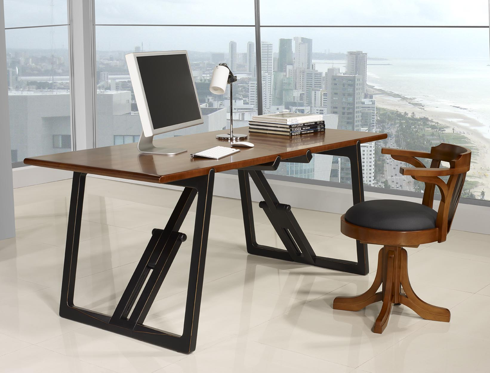 table de bureau en merisier massif de ligne contemporaine