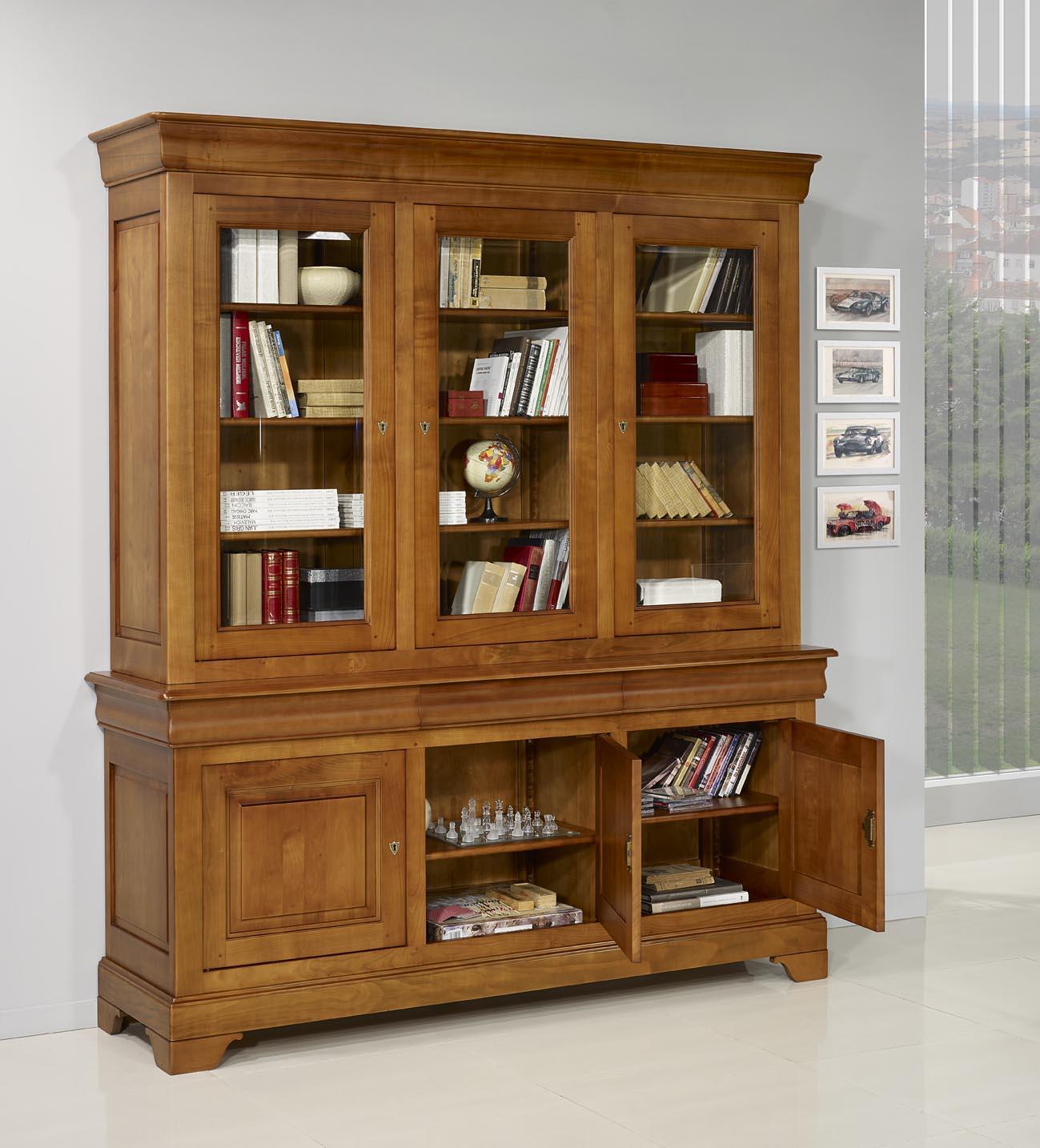 biblioth que 2 corps 3 portes en merisier massif de style louis philippe meuble en merisier. Black Bedroom Furniture Sets. Home Design Ideas