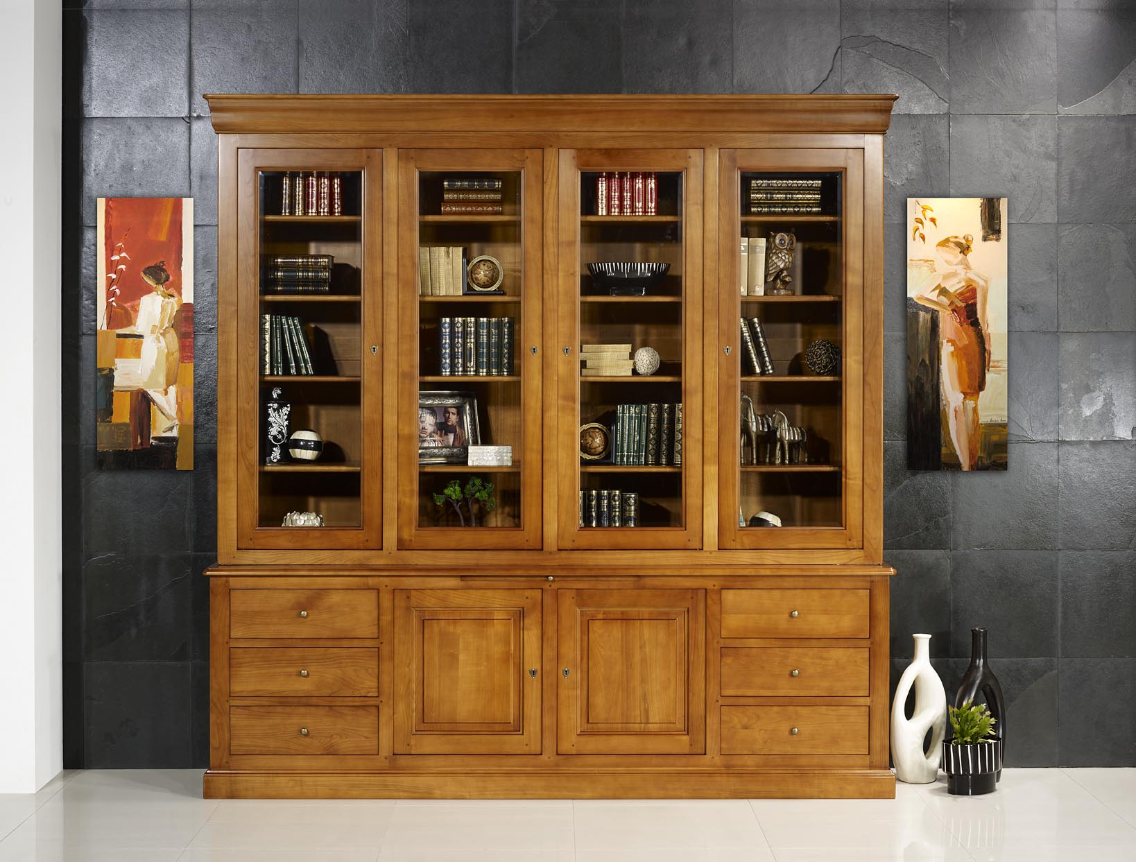 biblioth que 2 corps agathe en merisier massif de style louis philippe longueur 242 cm meuble. Black Bedroom Furniture Sets. Home Design Ideas