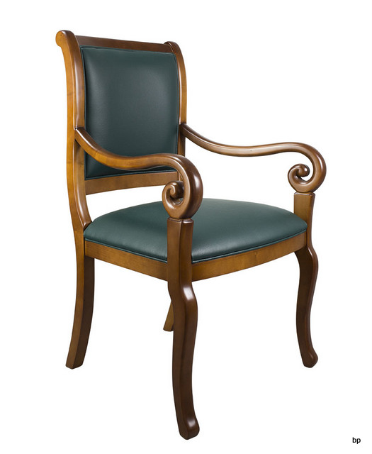 fauteuil crosse de style louis philippe moleskine vert anglais meuble en merisier. Black Bedroom Furniture Sets. Home Design Ideas