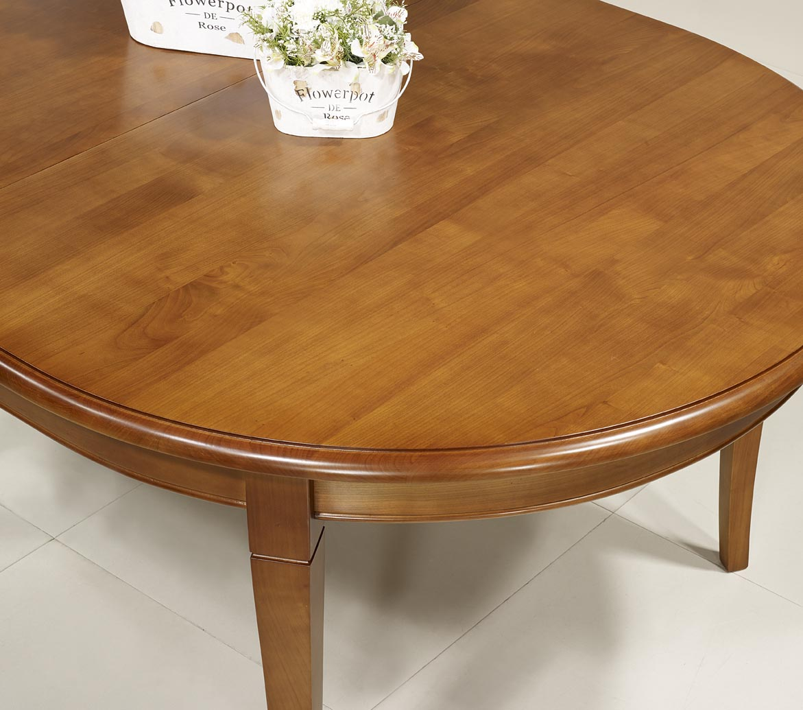 Table ovale 180 120 en merisier massif de style louis for Table ovale avec allonges