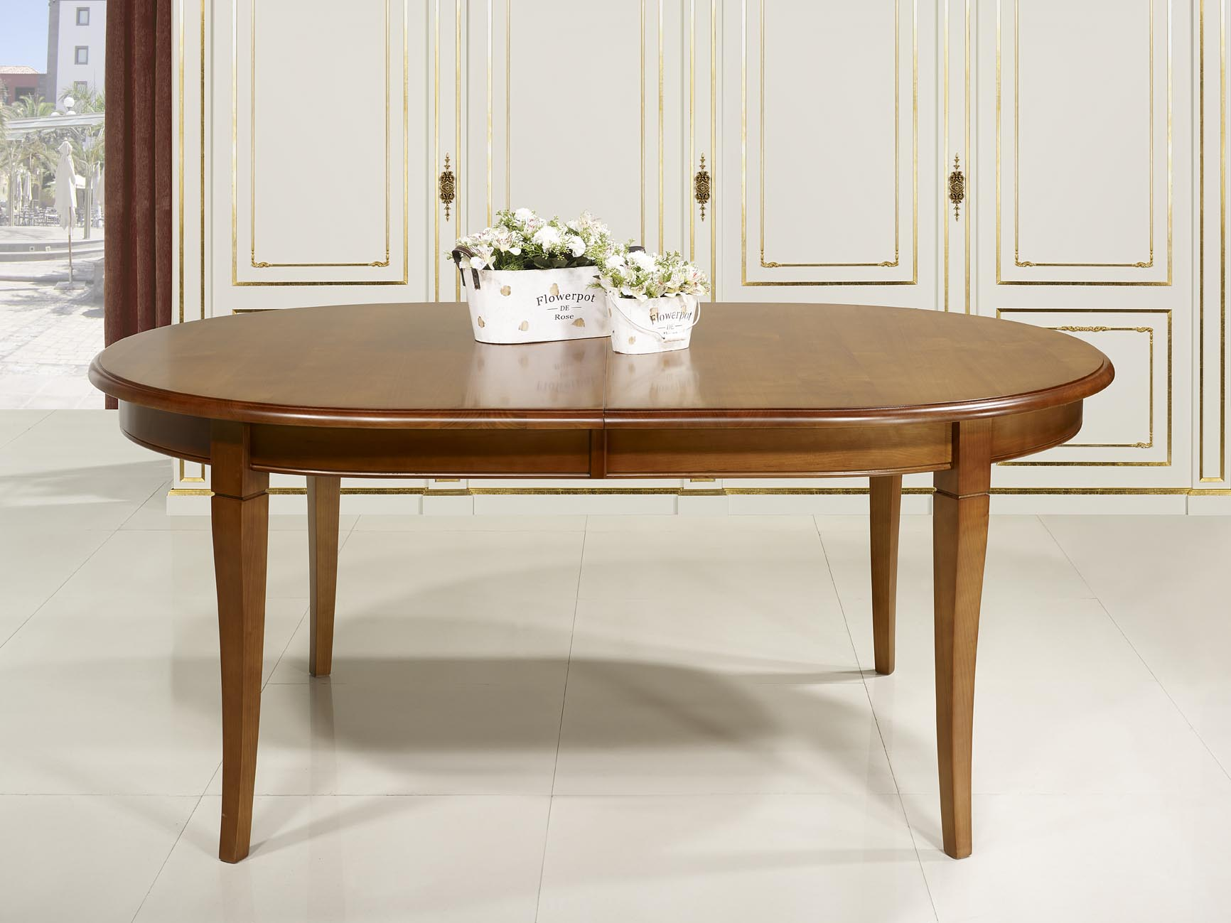 Table ovale 180 120 en merisier massif de style louis for Table ovale allonge