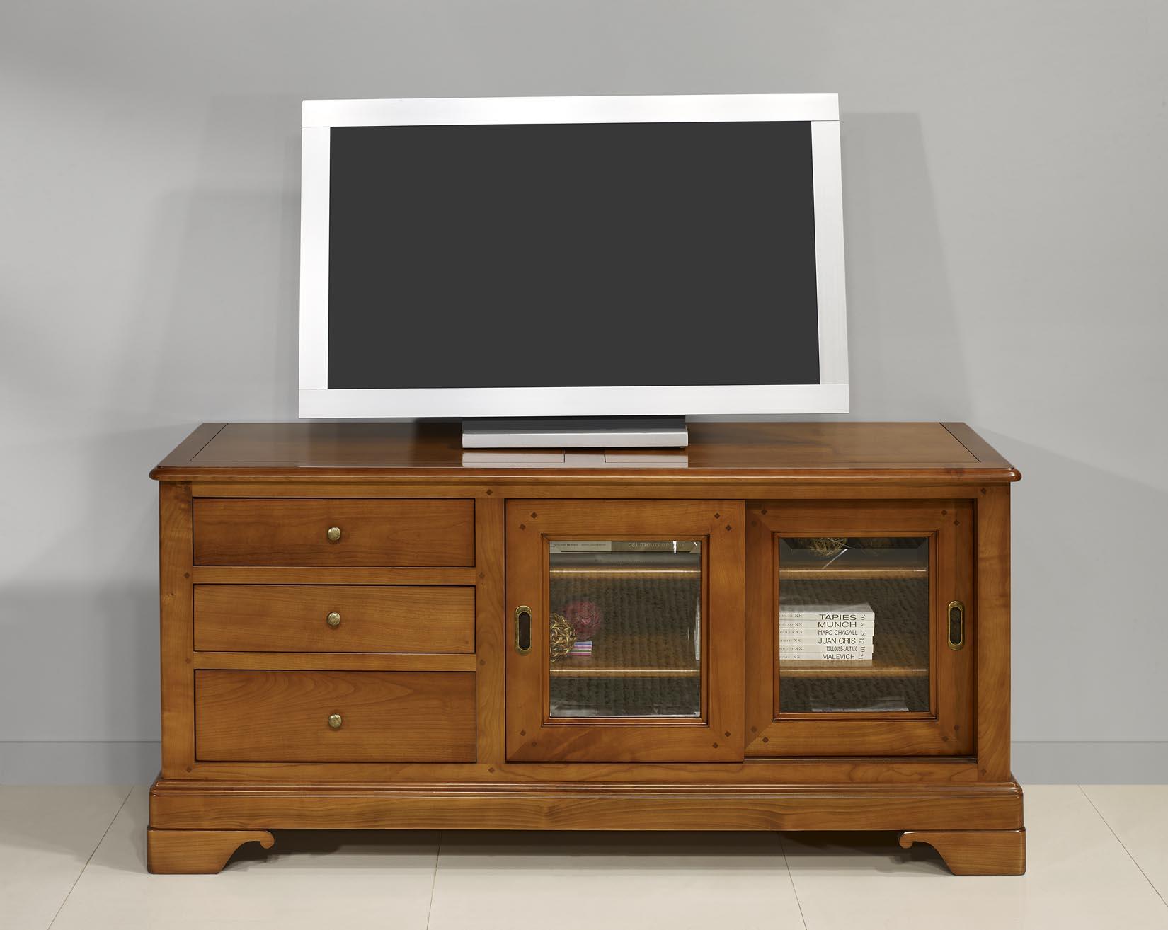Meuble tv 16 9eme e en merisier massif de style louis philippe portes couliss - Meuble facilite de paiement ...