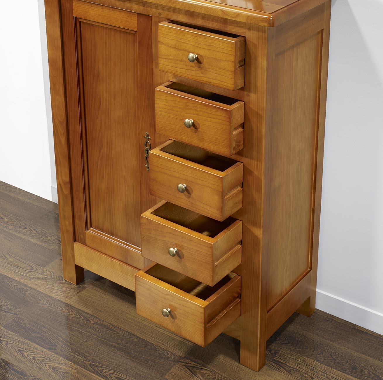farinier 1 porte 5 tiroirs en merisier massif de style campagne meuble en merisier. Black Bedroom Furniture Sets. Home Design Ideas