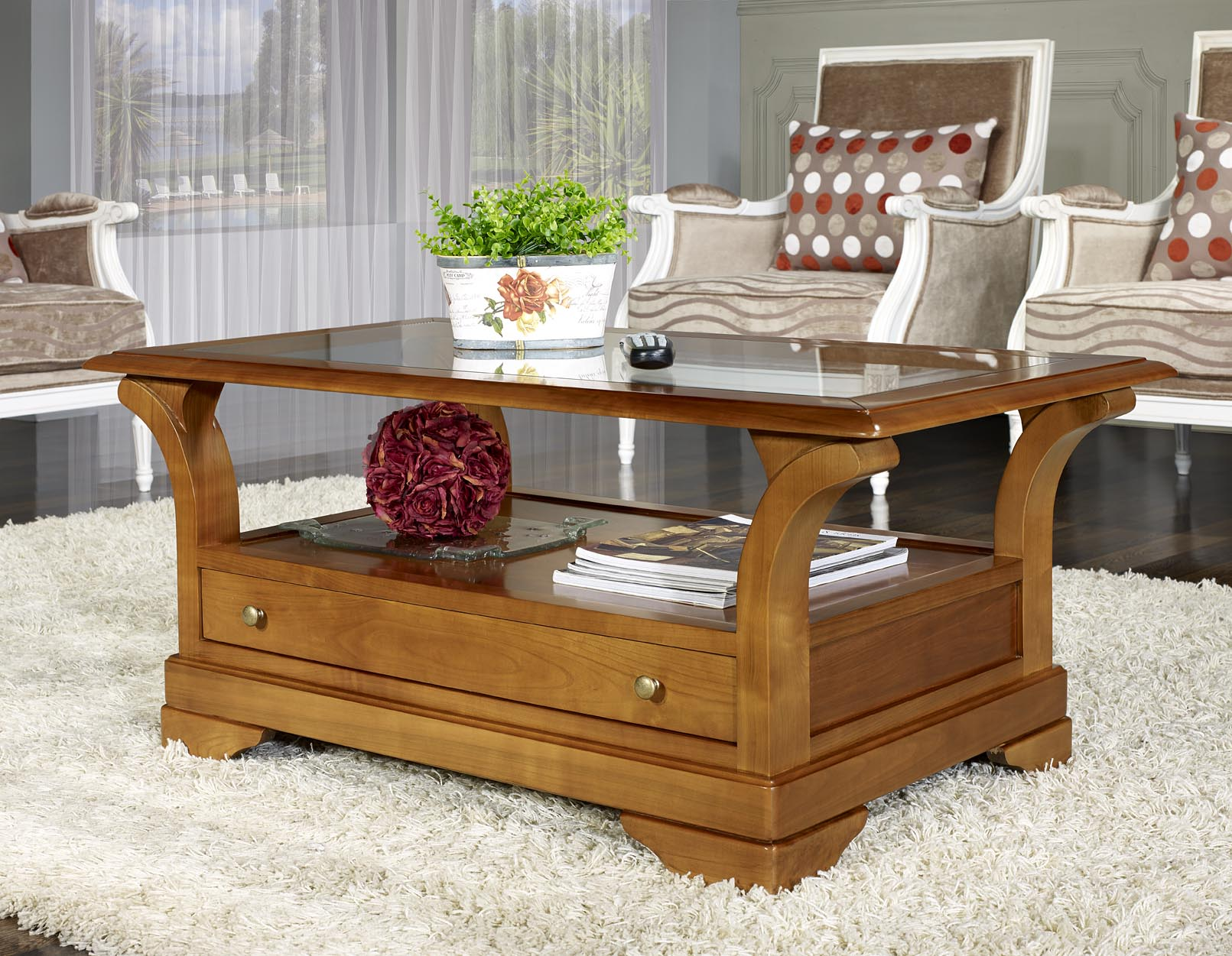 table basse constance en merisier massif de style louis philippe plateau verre meuble en merisier. Black Bedroom Furniture Sets. Home Design Ideas