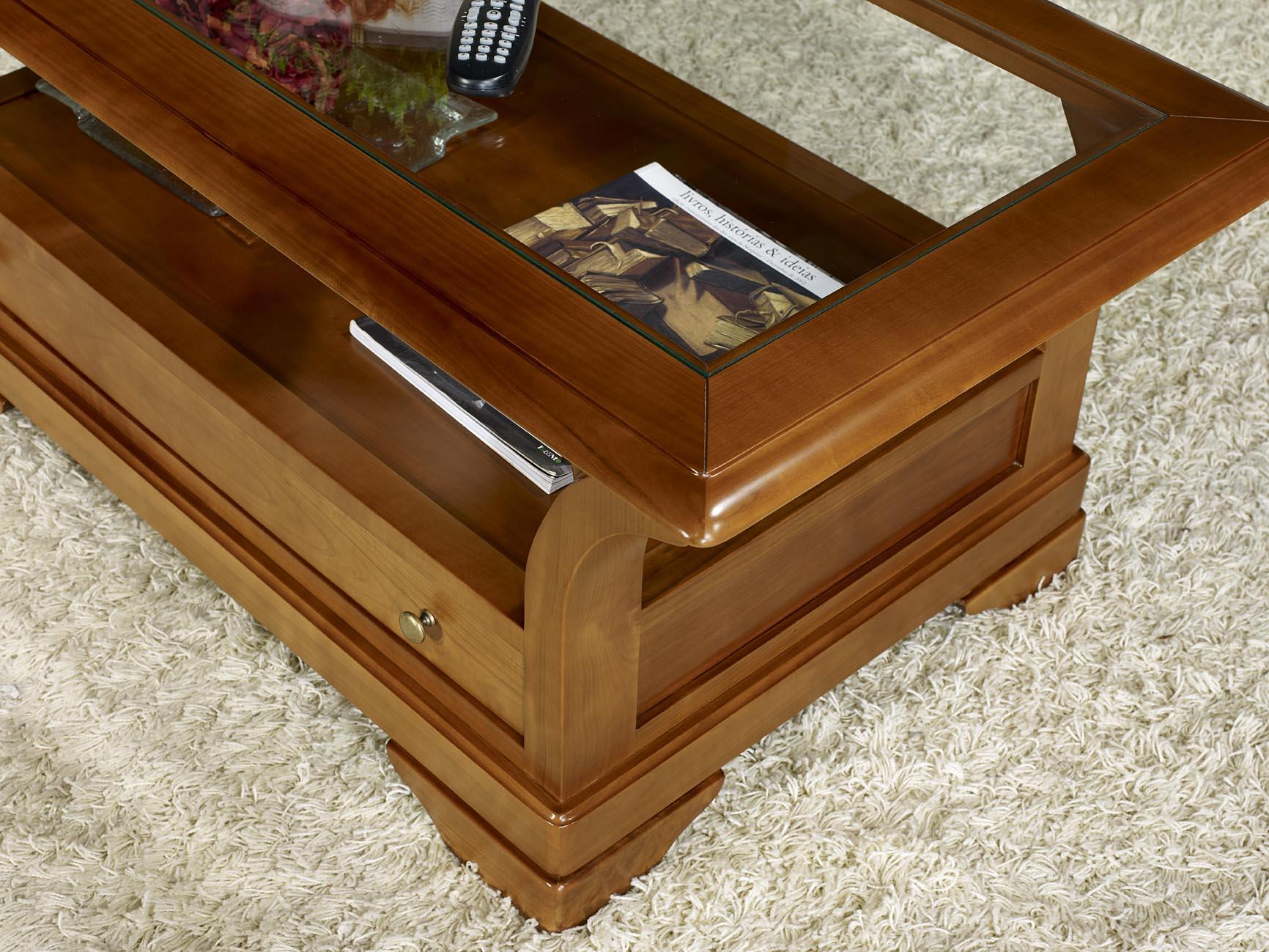 table basse constance en merisier massif de style louis philippe plateau verre meuble en merisier. Black Bedroom Furniture Sets. Home Design Ideas