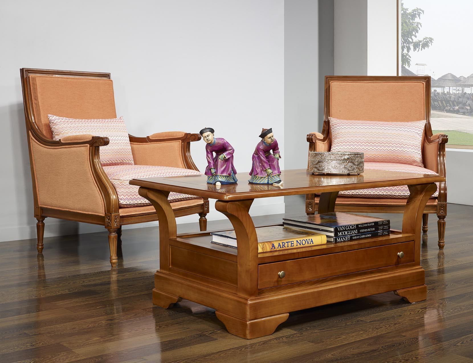Table Basse Constance en Merisier Massif de style Louis Philippe ...
