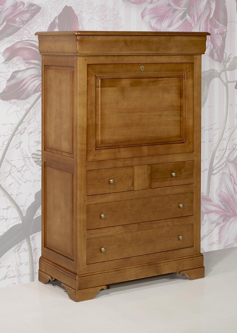 secr taire en merisier massif de style louis philippe meuble en merisier. Black Bedroom Furniture Sets. Home Design Ideas