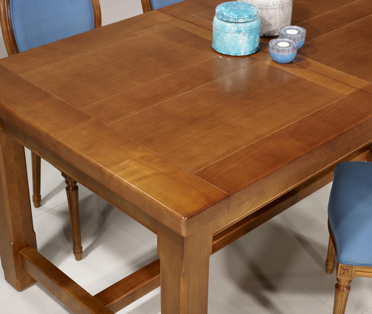 table de ferme rectangulaire mathis ralise en merisier massif 160x100 2 allonges de 40 cm - Table Merisier Massif