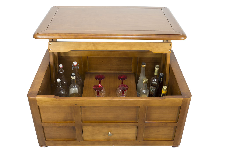 table basse bar ine en merisier de style louis philippe meuble en merisier. Black Bedroom Furniture Sets. Home Design Ideas