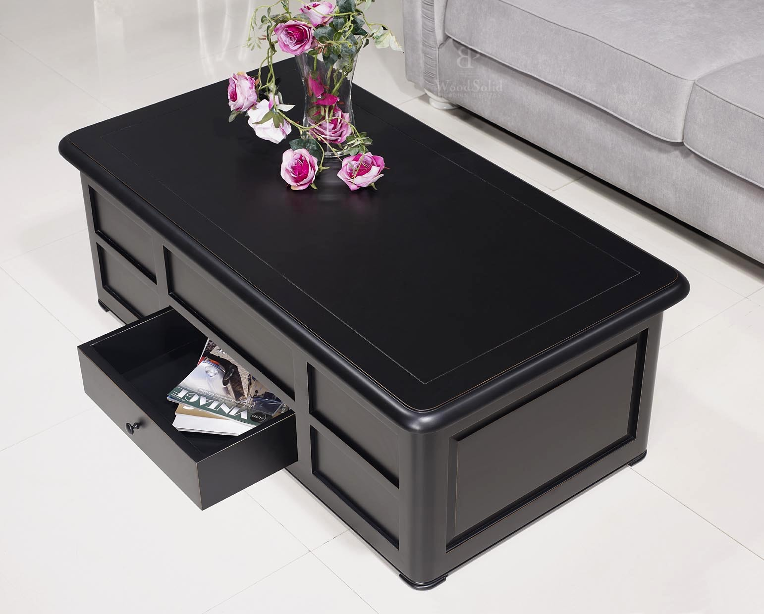 table basse bar ine en merisier de style louis philippe laqu noir meuble en merisier. Black Bedroom Furniture Sets. Home Design Ideas