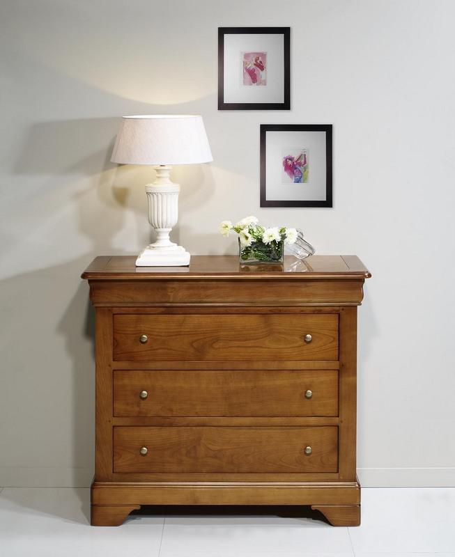 commode 3 tiroirs en merisier massif de style louis philippe meuble en merisier. Black Bedroom Furniture Sets. Home Design Ideas