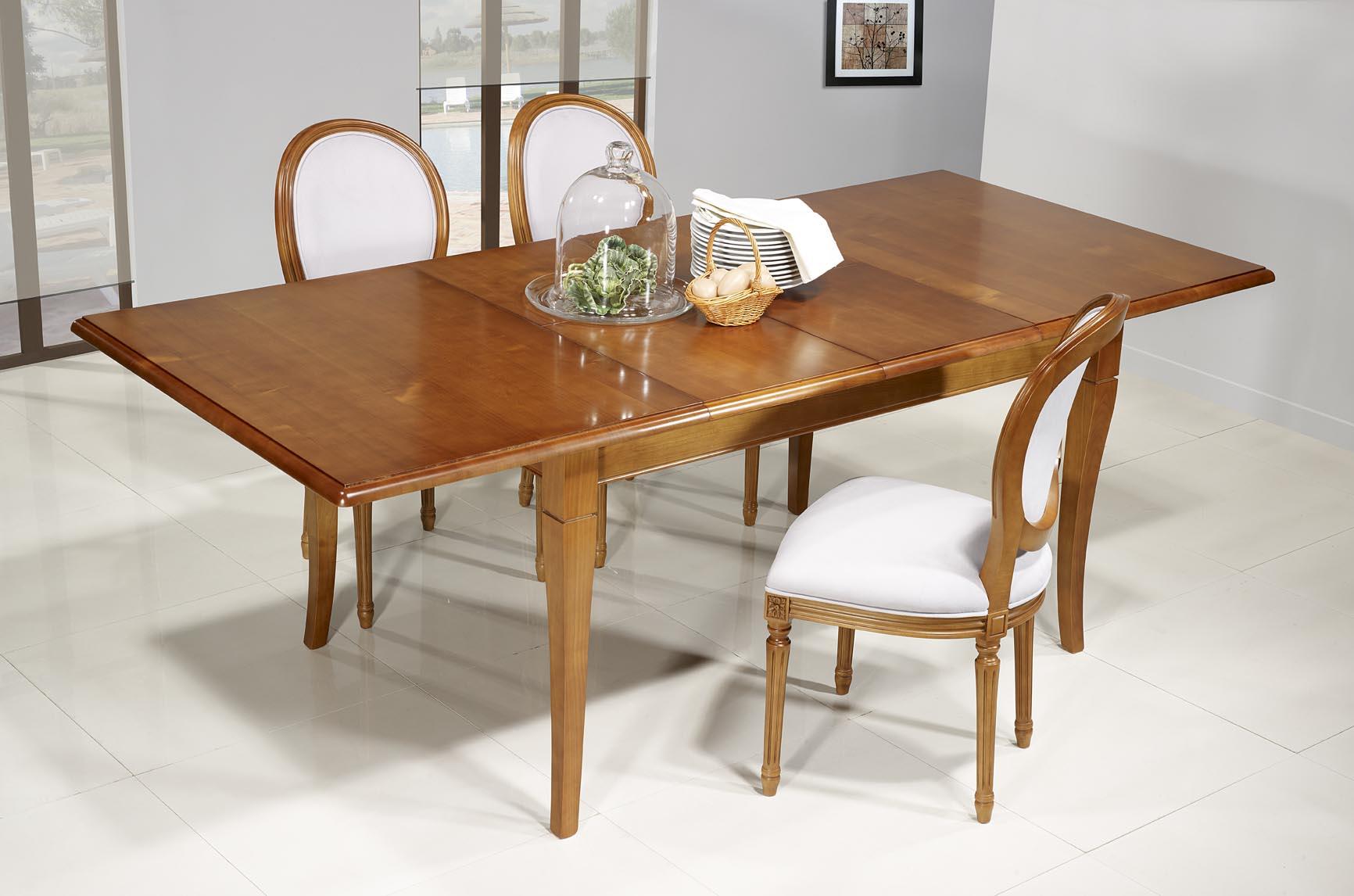 Table de repas emeline en merisier massif de style louis - Dimension table rectangulaire ...