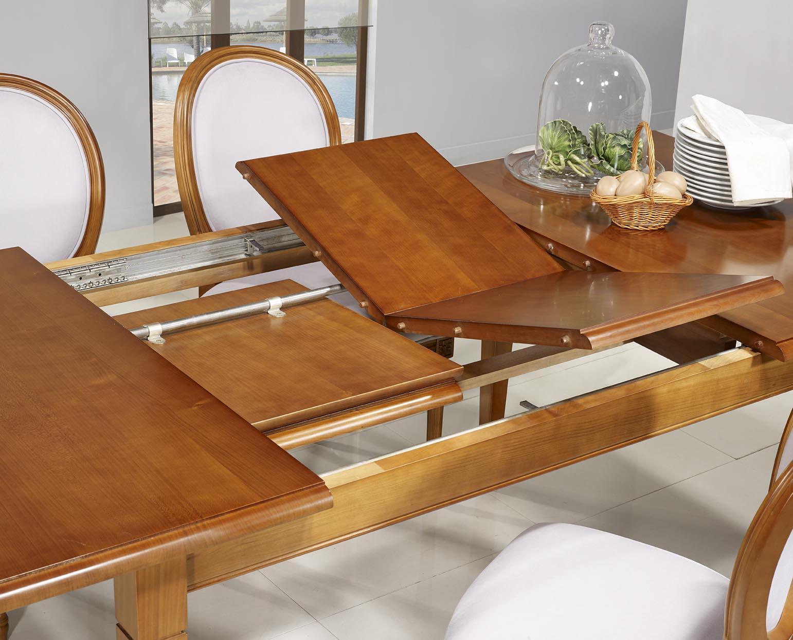 table de repas emeline ralise en merisier massif de style louis philippe 140x100 - Table Merisier Massif