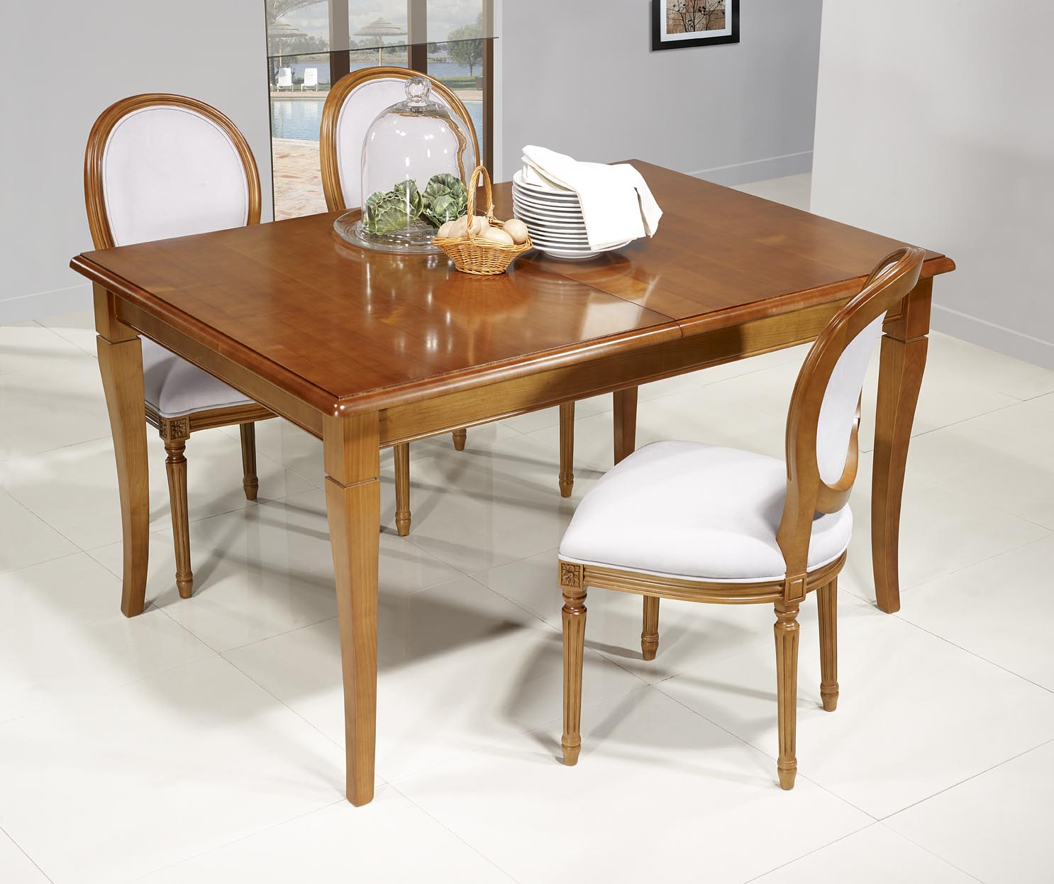 Table de repas emeline en merisier massif de style louis for Table rallonge bois massif