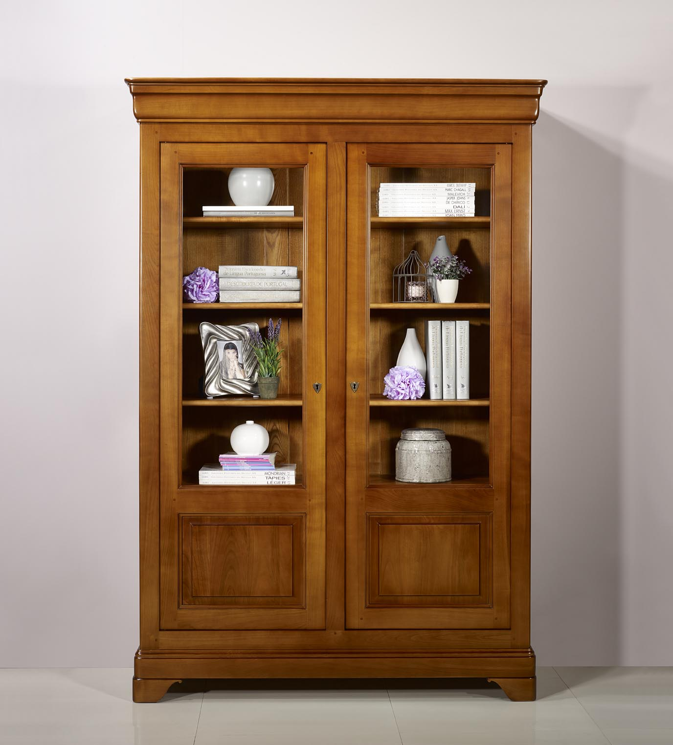 biblioth que 2 portes camille en merisier massif de style louis philippe meuble en merisier. Black Bedroom Furniture Sets. Home Design Ideas