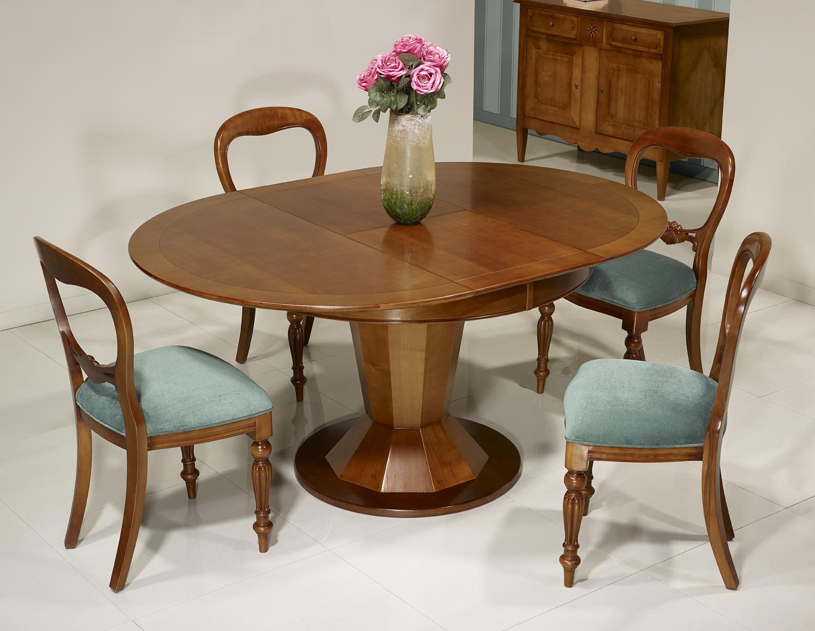 Table ronde pied central en merisier de style contemporain modele unique meuble en merisier - Pied de table ronde ...