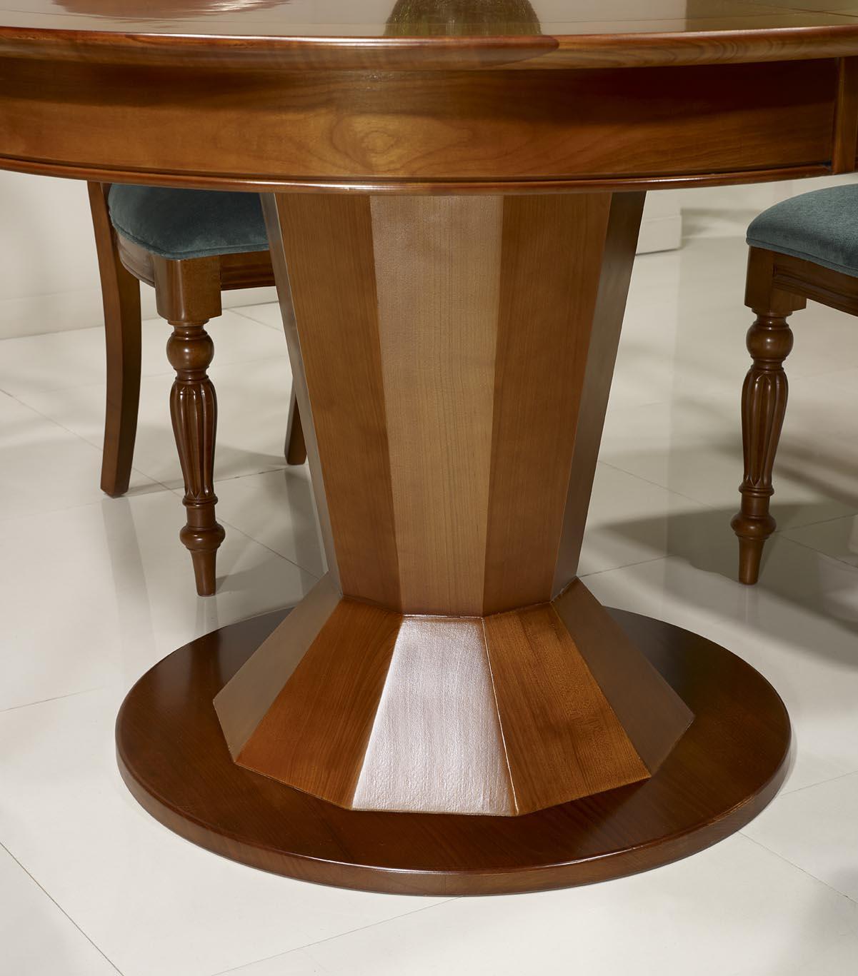 Table Ronde Pied Central En Merisier De Style Contemporain