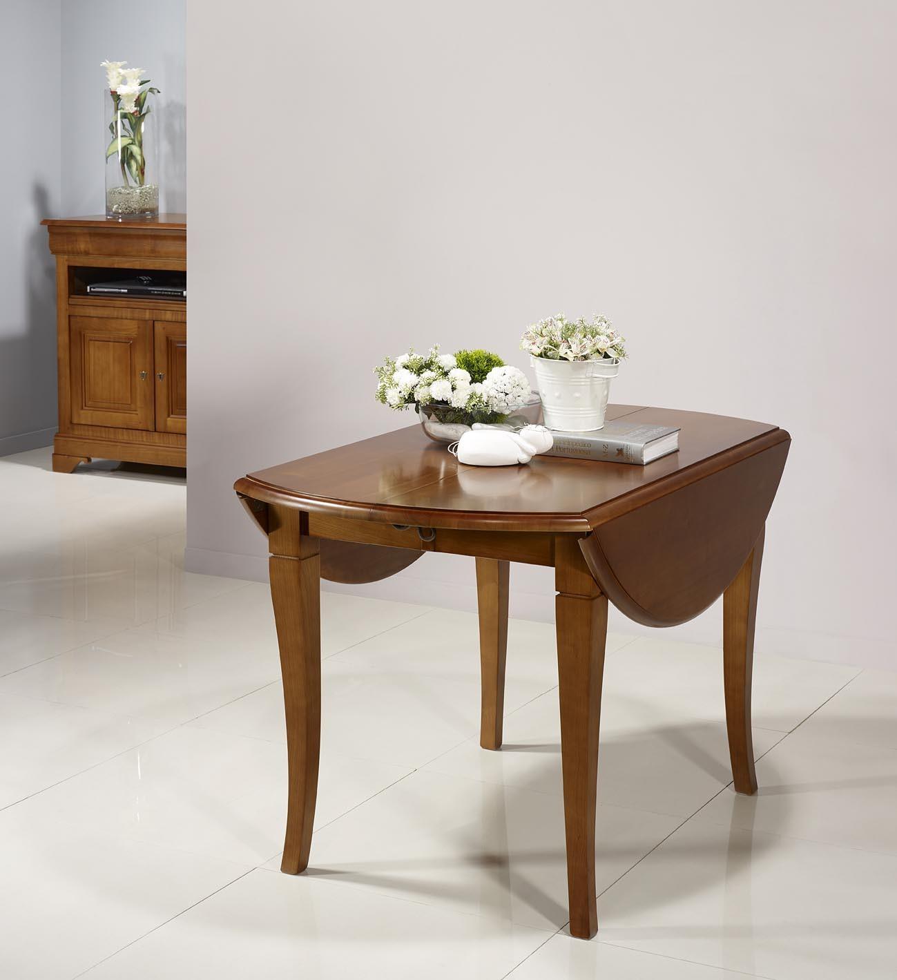 table ovale 135x110 volets en merisier massif de style louis philippe 2 allonges de 40. Black Bedroom Furniture Sets. Home Design Ideas