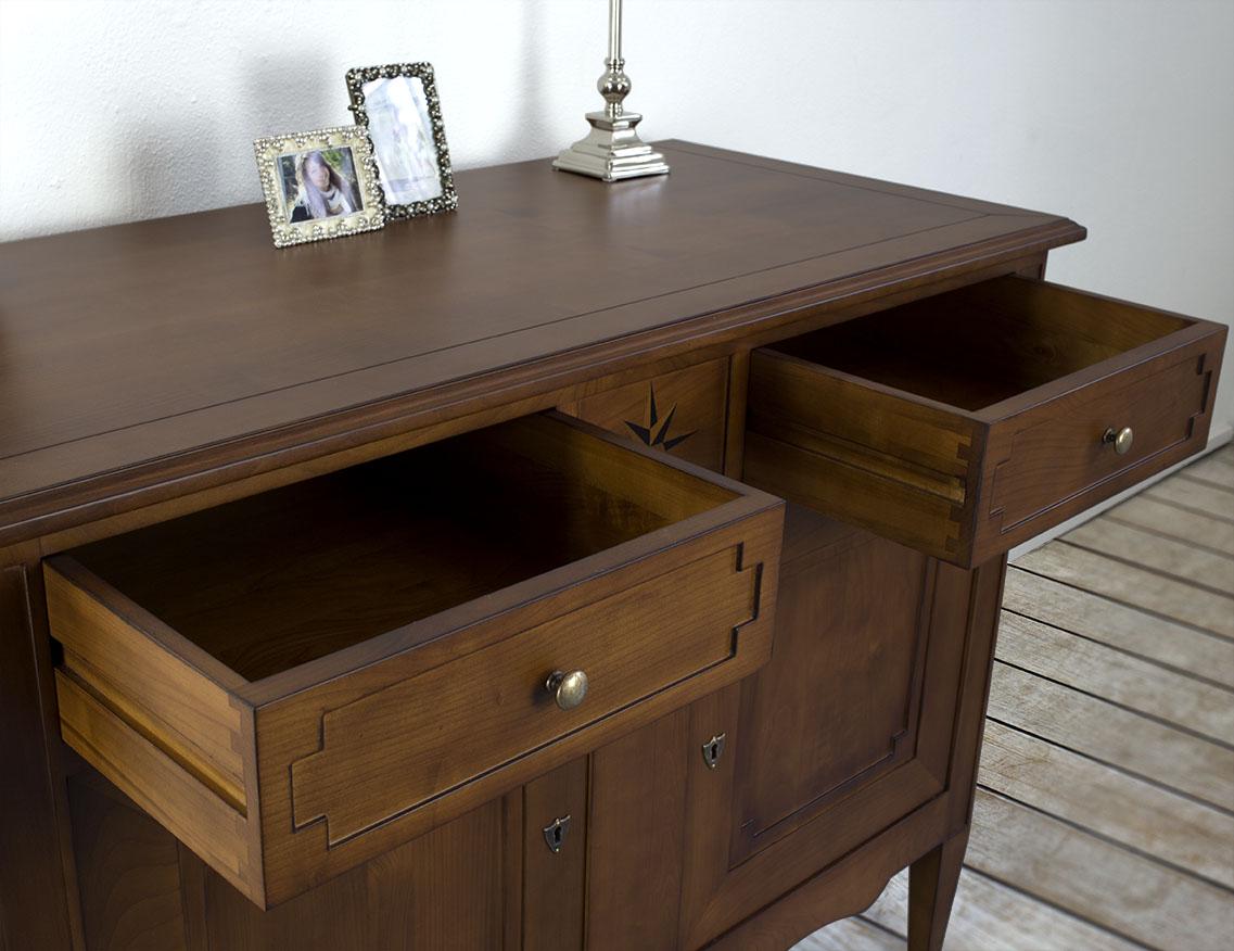 buffet 2 portes 2 tiroirs rose des vents en merisier massif de style directoire meuble en merisier. Black Bedroom Furniture Sets. Home Design Ideas