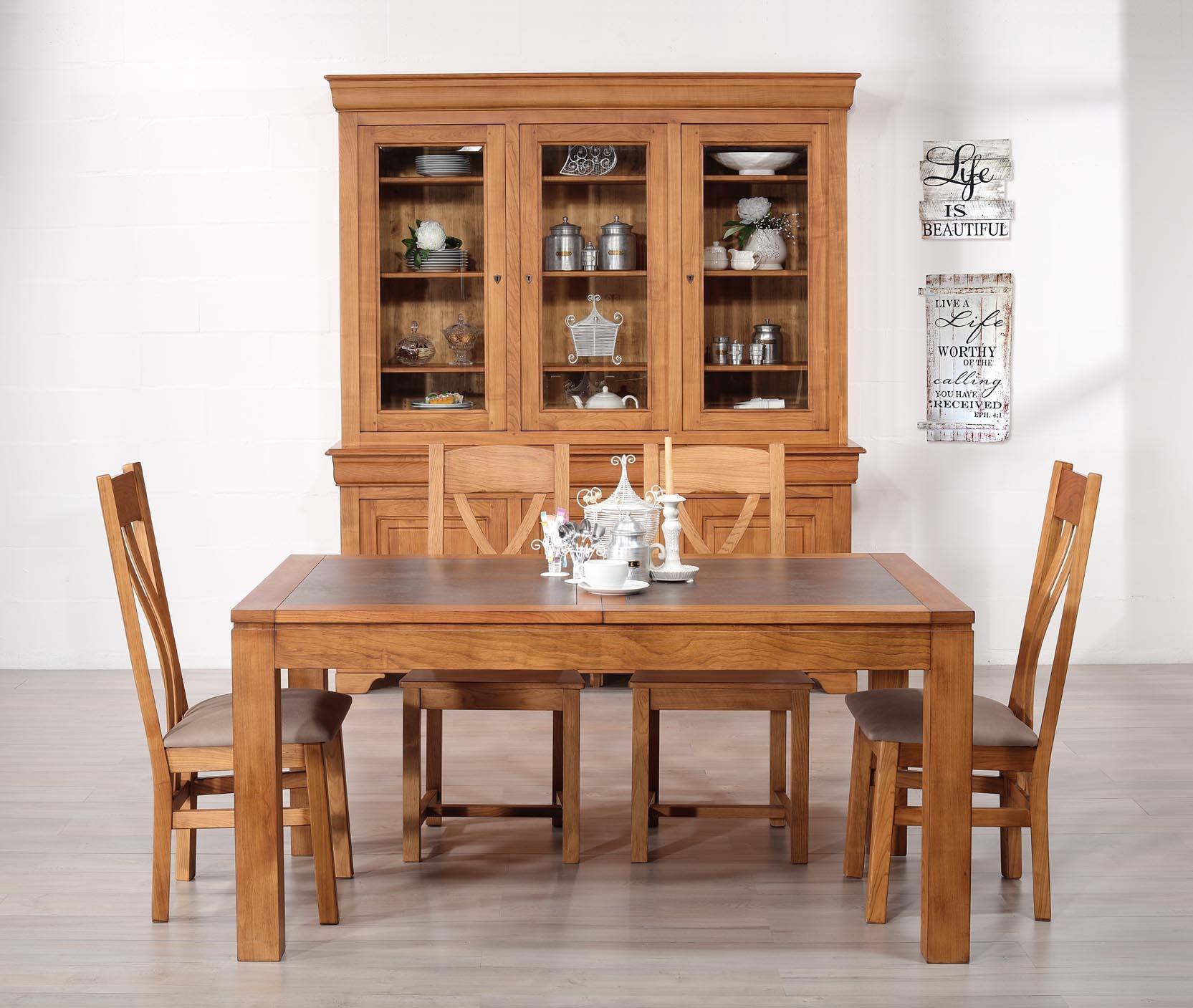 table de repas aurore en merisier massif contemporaine plateau c ramique largeur 160 cm meuble. Black Bedroom Furniture Sets. Home Design Ideas