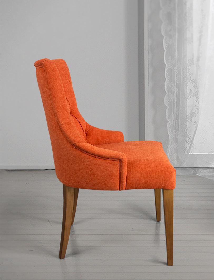 chaise de s jour capitonn e 4 pieds en merisier massif tissu orang meuble en merisier. Black Bedroom Furniture Sets. Home Design Ideas