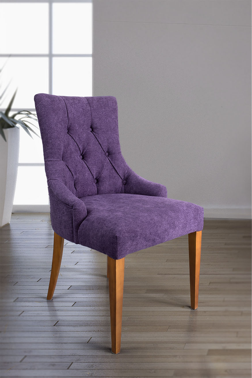 chaise de s jour capitonn e 4 pieds en merisier massif tiss violet meuble en merisier. Black Bedroom Furniture Sets. Home Design Ideas