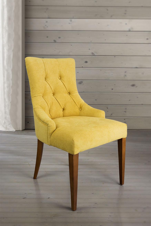 chaise de s jour capitonn e 4 pieds en merisier massif tissu jaune meuble en merisier. Black Bedroom Furniture Sets. Home Design Ideas