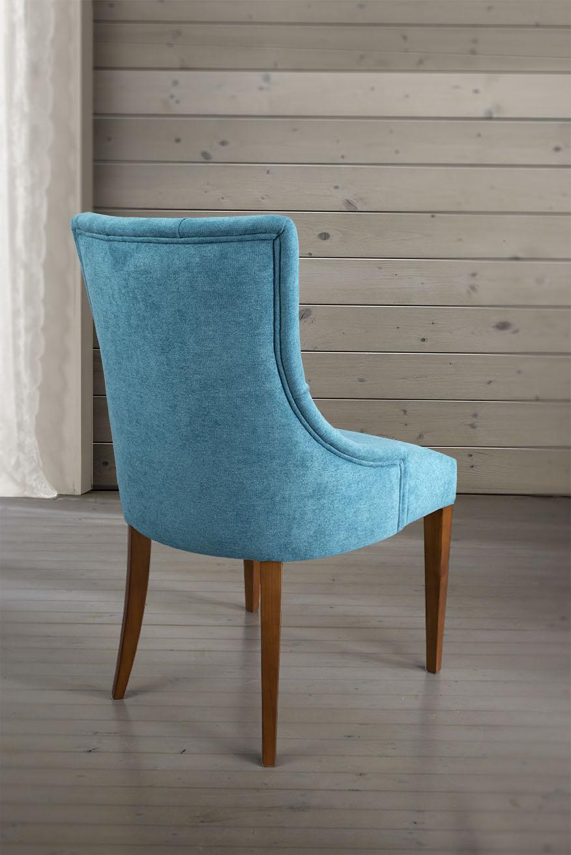 chaise de s jour capitonn e 4 pieds en merisier massif tissu bleu meuble en merisier. Black Bedroom Furniture Sets. Home Design Ideas