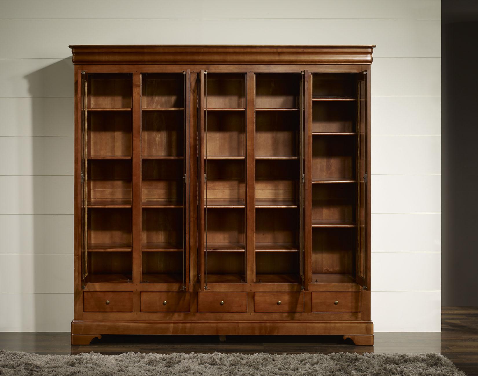 biblioth que 5 portes 5 tiroirs en merisier massif de style louis philippe meuble en merisier. Black Bedroom Furniture Sets. Home Design Ideas
