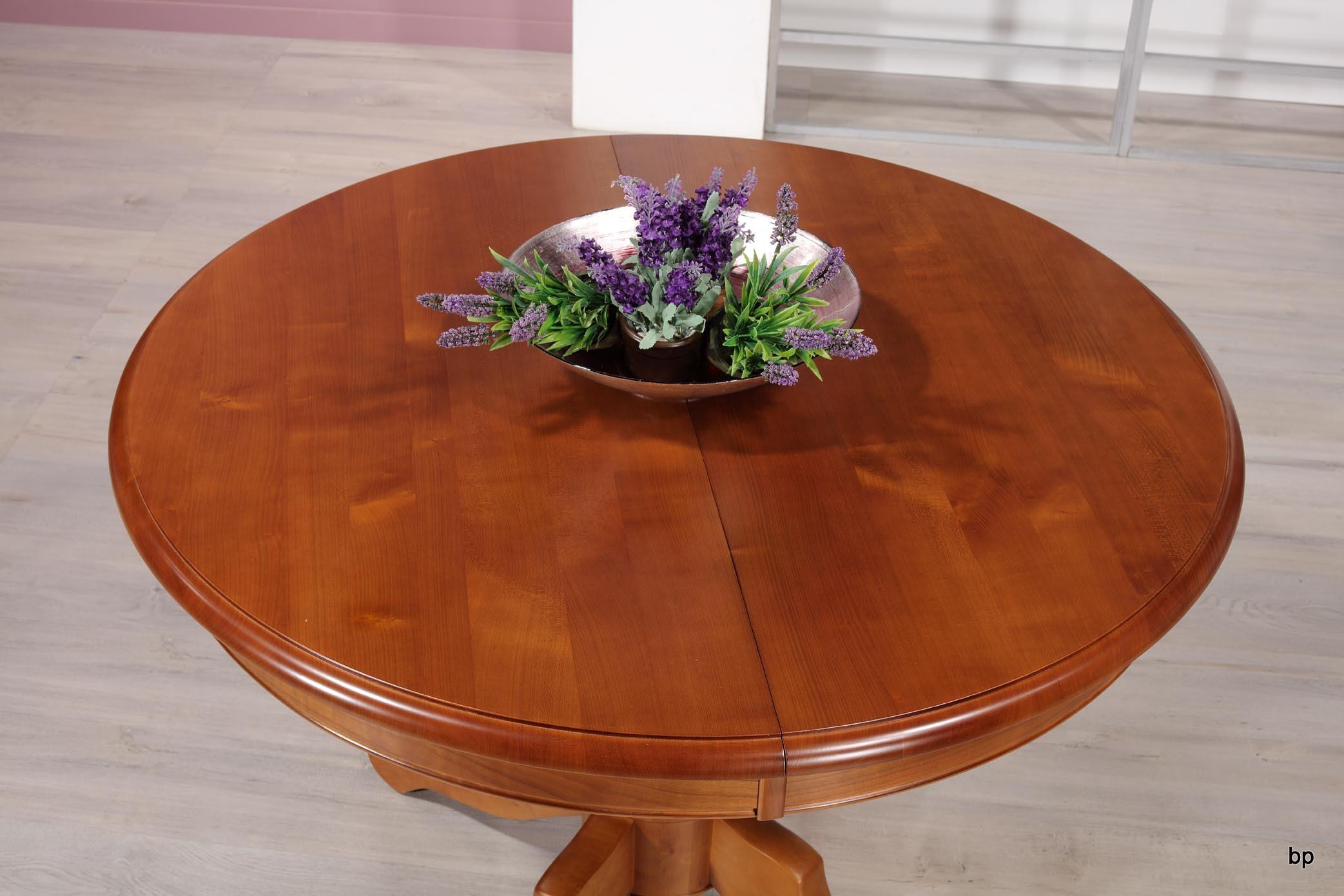 table ronde pieds central de style louis philippe en merisier massif diam tre 110 cm meuble en. Black Bedroom Furniture Sets. Home Design Ideas