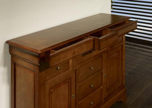 buffet flore 2 portes 9 tiroirs en merisier massif de style louis philippe meuble en merisier. Black Bedroom Furniture Sets. Home Design Ideas