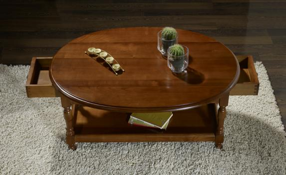 table basse ovale volets en merisier massif de style louis philippe meuble en merisier. Black Bedroom Furniture Sets. Home Design Ideas