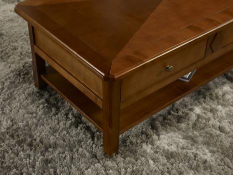 Table basse flore en merisier de style louis philippe plateau marquette meuble en merisier - Table basse louis philippe ...