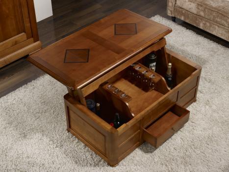 Table basse bar paul en merisier de style louis philippe meuble en merisier - Table basse louis philippe ...
