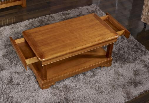 Table basse en merisier de style louis philippe 2 tiroirs de chaque cote meuble en merisier - Table basse louis philippe ...