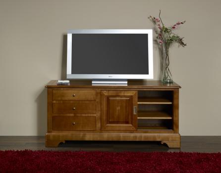 Meuble tv 16 9eme maude en merisier massif de style louis - Meuble merisier massif louis philippe ...