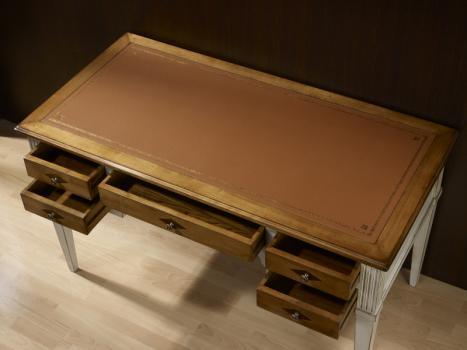 bureau ministre en merisier massif de style directoire patine gris use meuble en merisier. Black Bedroom Furniture Sets. Home Design Ideas