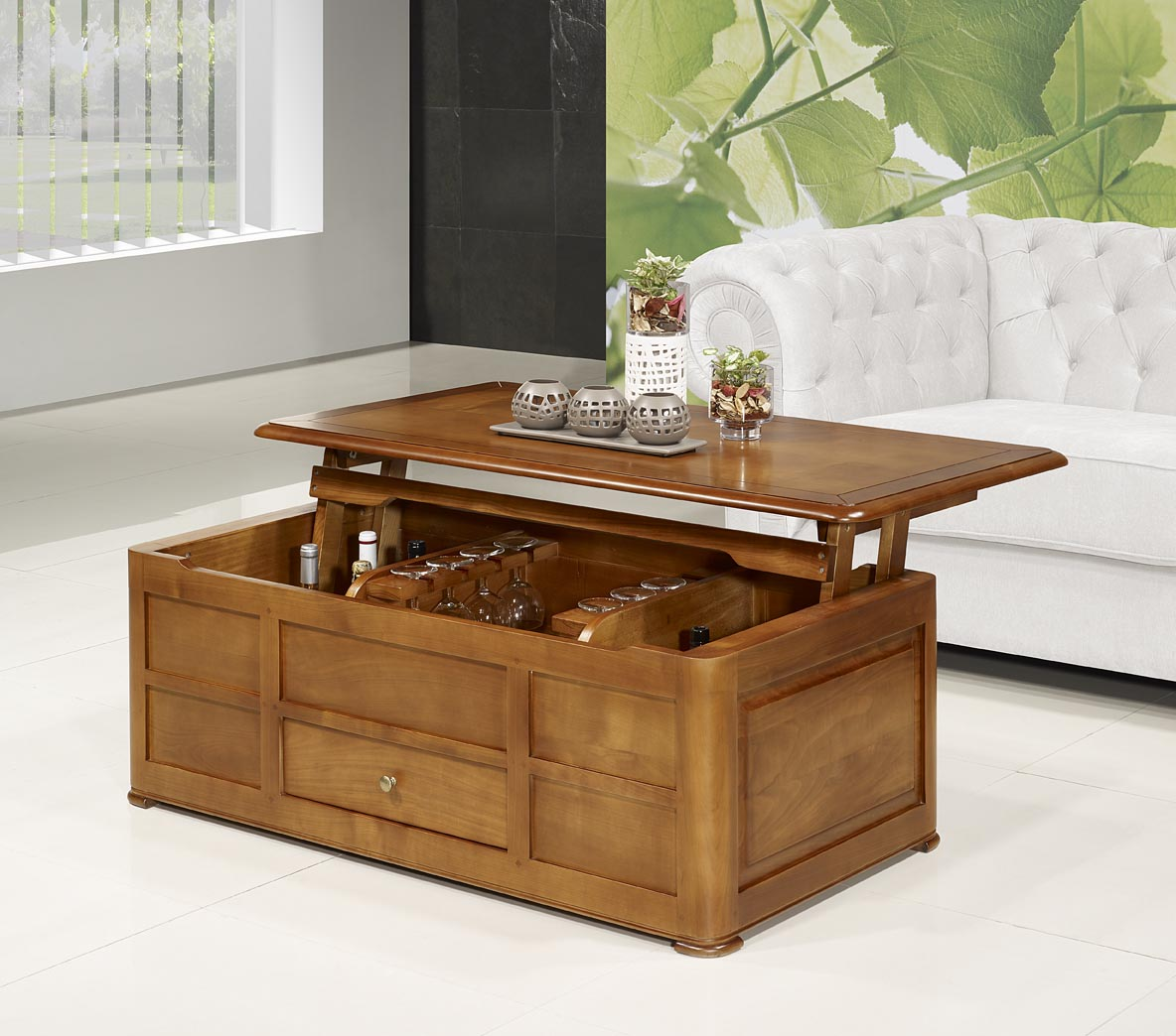 Table Basse Bar ine en Merisier de style Louis Philippe , meuble ...