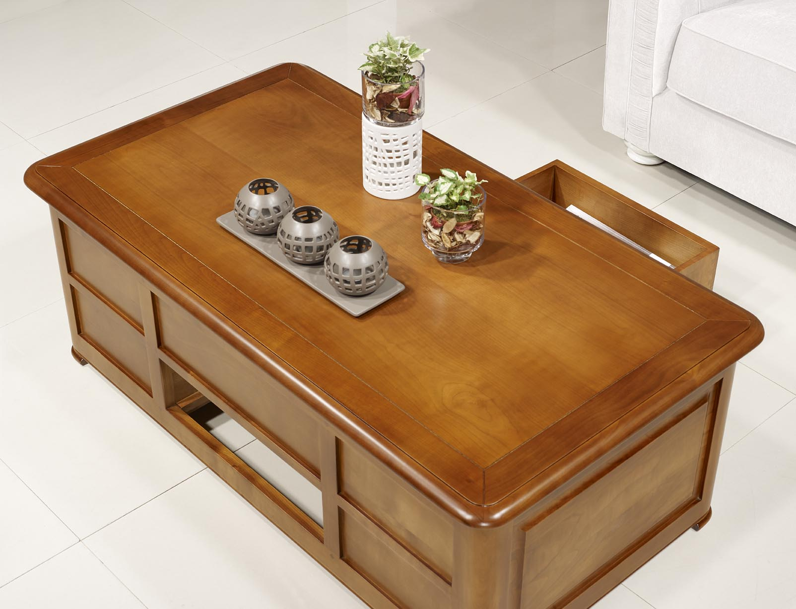 Table basse bar ine en merisier de style louis philippe - Table basse pliante bois ...