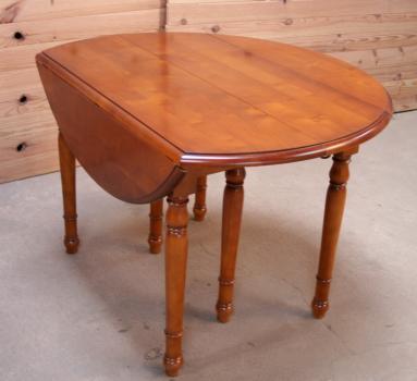 table ronde à volets diametre 120 en merisier massif de style