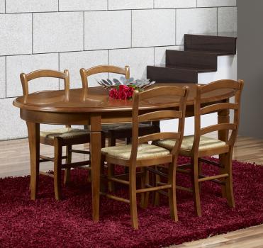 Table ovale de salle manger estelle en merisier massif for Salle a manger ovale