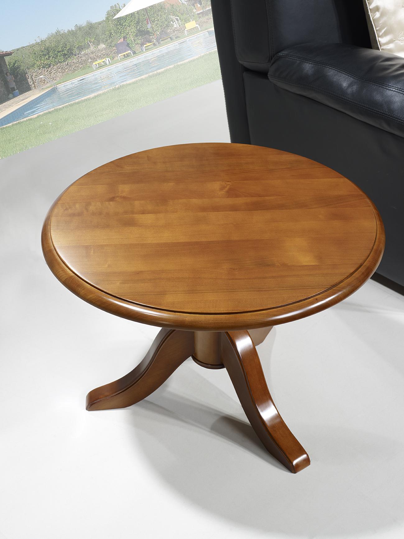 Table Basse Ronde Annie En Merisier Massif De Style Louis