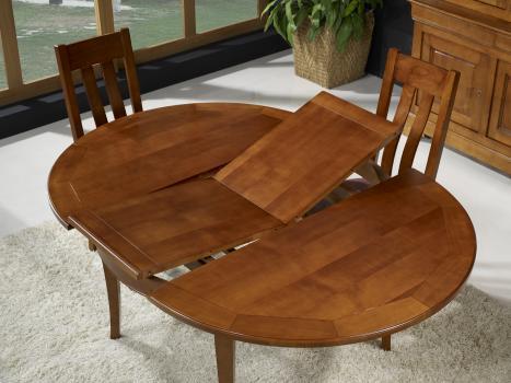 Table ronde 4 pieds c lia en merisier de style louis - Diametre table ronde 4 personnes ...