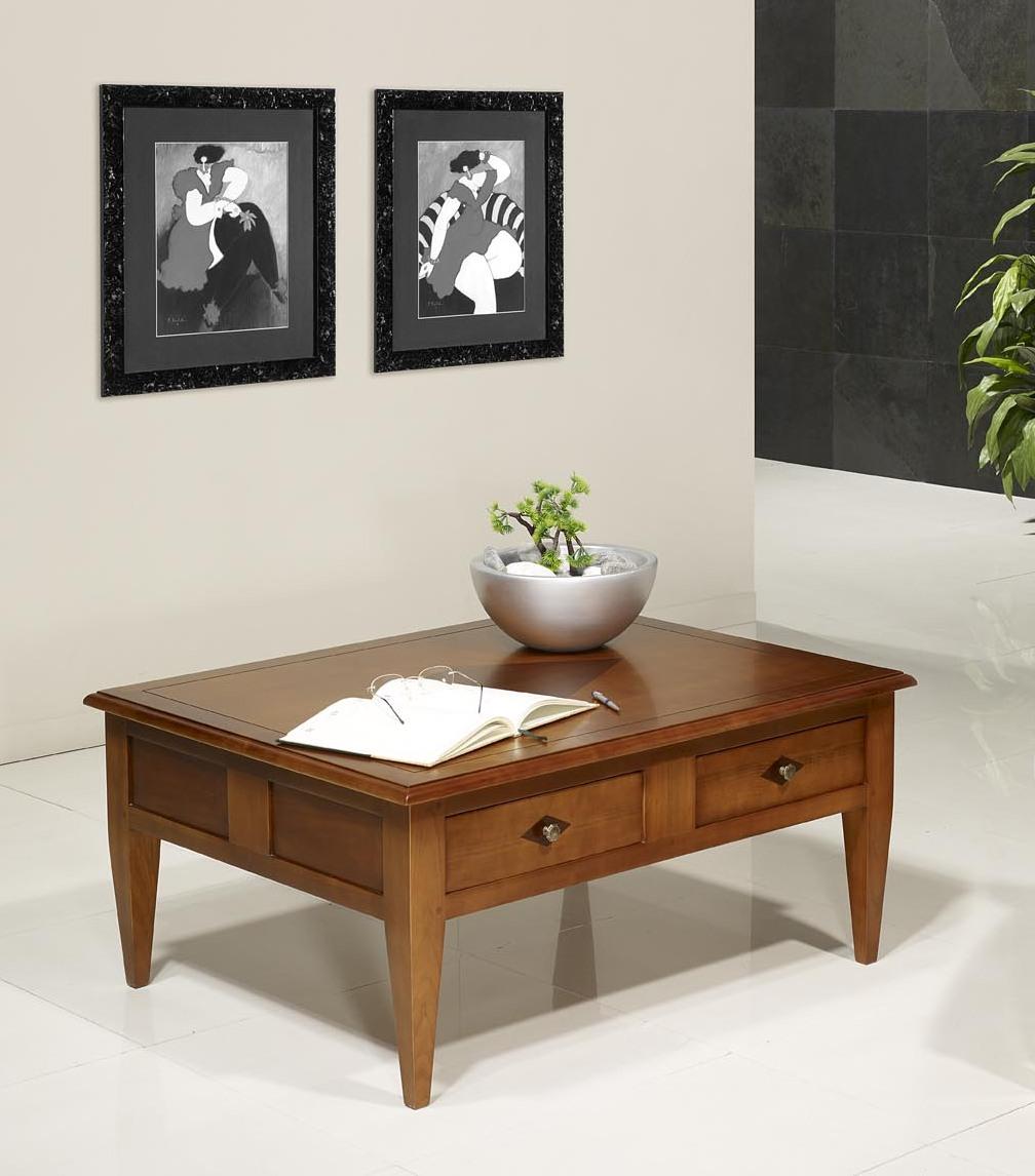 table basse rectangulaire 100x80 en merisier de style directoire meuble en merisier. Black Bedroom Furniture Sets. Home Design Ideas