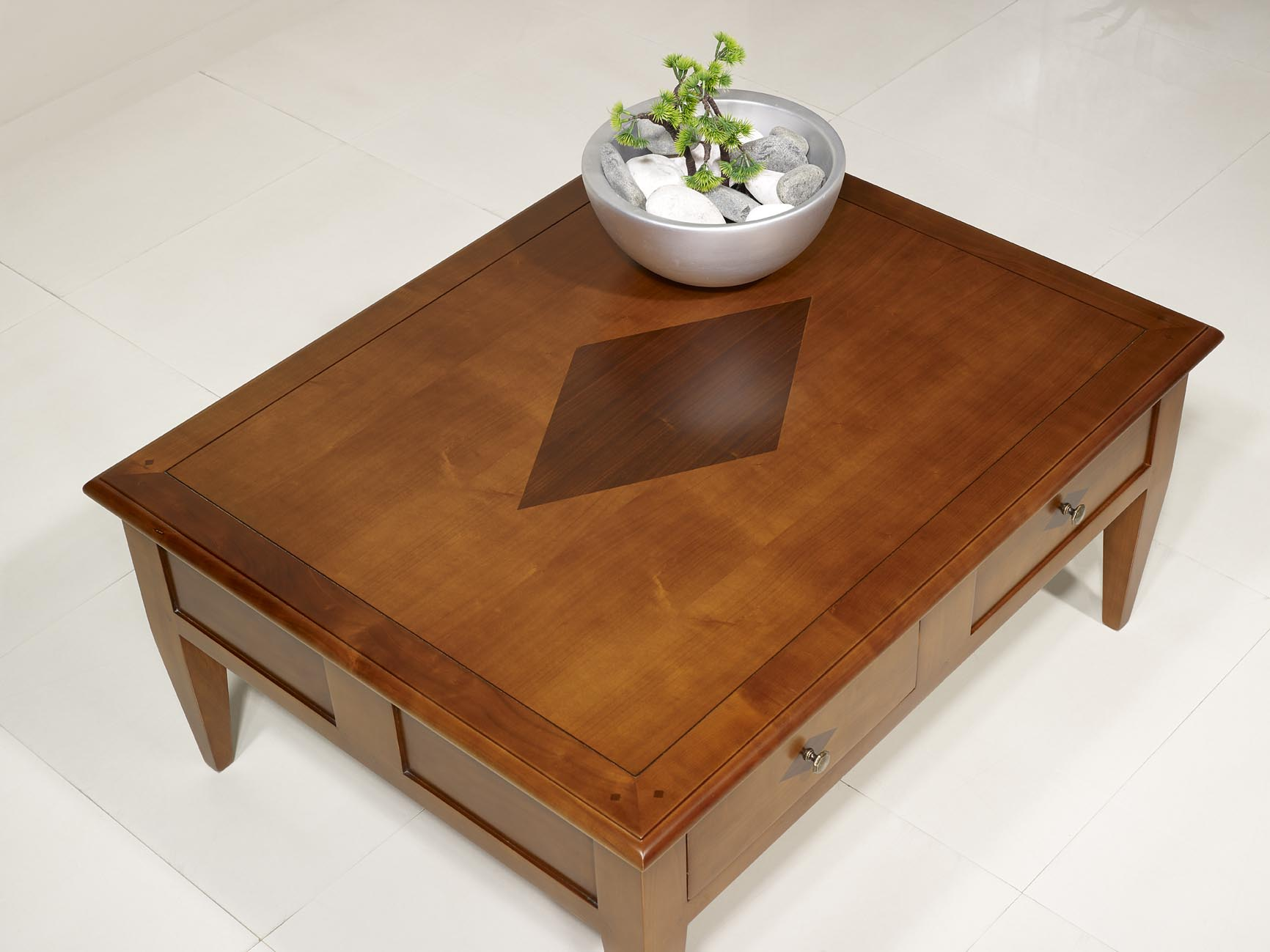Table basse rectangulaire 100x80 en merisier de style for Table basse en merisier